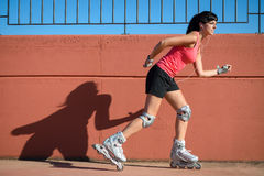 Female roller skater Royalty Free Stock Photos