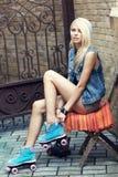 Female roller skater Royalty Free Stock Images