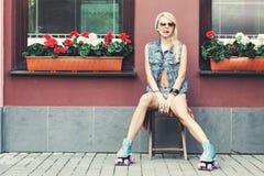 Female roller skater Stock Photos