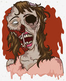 Female Rotten Zombie Design in Cartoon Style, Vector Illustration Stock Photography
