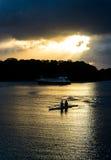 Female Rowers on Sunset Lake Royalty Free Stock Photos