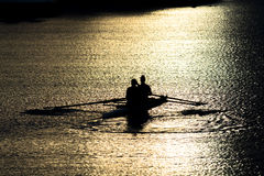 Female Rowers on Sunset Lake Royalty Free Stock Photography
