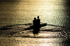Female Rowers on Sunset Lake Royalty Free Stock Images