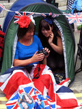 Female Royal Wedding fans stock photos