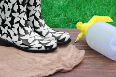 Female Rubber Boots And Watering Can On The Wood Desk Stock Images
