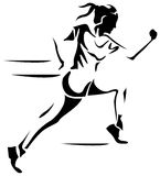 Female run. Line art black and white female run image Royalty Free Stock Photography