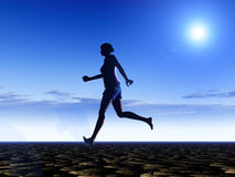 Female Runner 15. An image of a bare footed women running, with the sky in the background Stock Photos