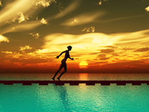 Female runner. As symbol for power, fitness and courage Stock Photo