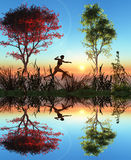 Female runner. Young woman running in the dawn as symbol of power, fitness and health Royalty Free Stock Photo