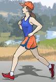 Female runner. Illustration of a female runner stock illustration