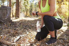 Female runner kneels in forest looking at smartwatch, crop Royalty Free Stock Photo