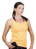 Female Runner listening to music Stock Images