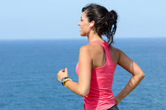 Female runner and sea Stock Image