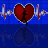 Female Runner Silhouette with Red Heart Beat Graph Stock Image