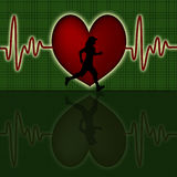 Female Runner Silhouette with Red Heart Beat Graph Stock Photography