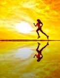 Female runner silhouette Royalty Free Stock Photo