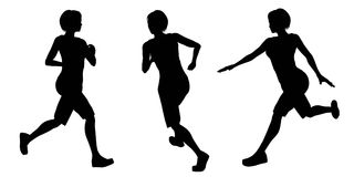 Female Runner Silhouettes - 1 Royalty Free Stock Photo