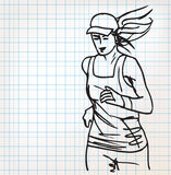 Female runner sketch illustration Royalty Free Stock Images