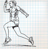 Female runner sketch illustration Royalty Free Stock Photography