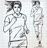 Female runner sketch illustration Stock Photos