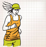 Female runner sketch illustration Stock Photo
