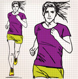 Female runner sketch illustration Royalty Free Stock Photo