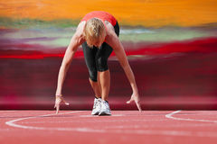 Runner start canvas background Stock Photography