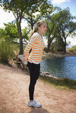 Female Runner Stretching royalty free stock photos