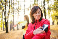 Female runners with smartphone outdoors in forest in nature, measuring time. royalty free stock image