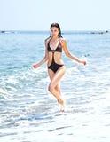 Female running beach Stock Photo