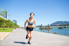Female running in city Royalty Free Stock Images