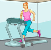 Female Running on Treadmill. Best for Health, Fitness, Beauty, Sports and Exercise Concept Royalty Free Stock Photo