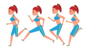 Female Running Vector. Animation Frames Set. Sport Athlete Fitness Character. Marathon Road Race Runner. Woman Side View. Sportswear. Jogging, Workout Stock Image