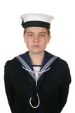 Female sailor in navy isolated white Royalty Free Stock Photo