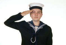 Female sailor in navy isolated white Royalty Free Stock Image