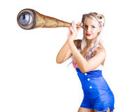 Female sailor with telescope Royalty Free Stock Image