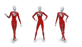 Female sale mannequins. 3D render of female mannequins with percentage sign Royalty Free Stock Images