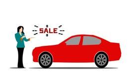 Female salesperson Red Car Advice vector illustration