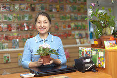 Female saleswoman  at store for gardener Stock Photo