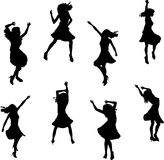 Female Salsa Dancer Silhouettes Royalty Free Stock Image