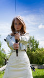 Female with samurai sword Royalty Free Stock Photo