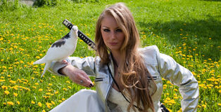 Female with samurai sword and dove Stock Images