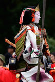 Female samurai warrior at Jidai Matsuri parade, Japan. Royalty Free Stock Photography