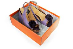 Female sandals  in a box Stock Photo