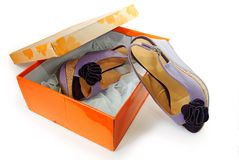 Female sandals  in a box Royalty Free Stock Image
