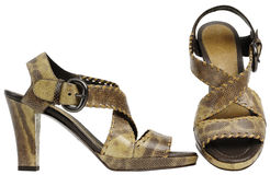 Female sandals with high heel. Isolated on a white background royalty free stock images