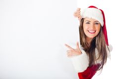 Female Santa with a banner Stock Photo
