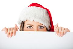 Female Santa with a banner Royalty Free Stock Image