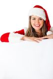 Female Santa with a banner Royalty Free Stock Images