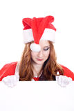 Female Santa with a banner Royalty Free Stock Photography